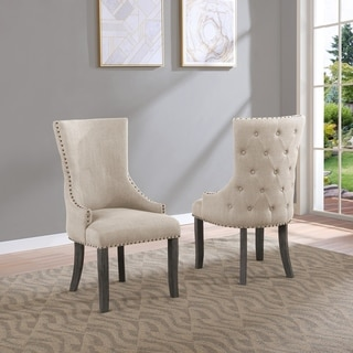 Best Quality Furniture Beige Upholstered Dining Side Chair (Set of 2)