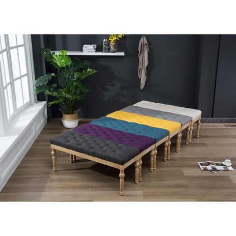 Habit Solid Wood Button Tufted Dining Bench