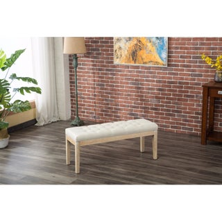 Mod Urban Style Solid Wood Button Tufted Fabric Dining Bench (Option: Tan)