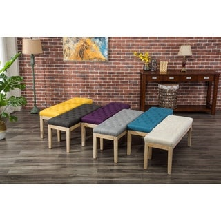 Mod Urban Style Solid Wood Button Tufted Fabric Dining Bench