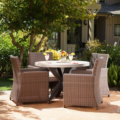 Athena Outdoor 5-piece Light-weight Concrete Wicker Dining Set with Cushions by Christopher Knight Home