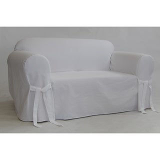 Classic Slipcovers White Twill Loveseat Slipcover