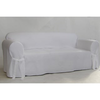 Classic Slipcovers White Twill Sofa Slipcover