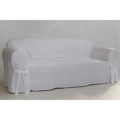 Classic Slipcovers White Twill Sofa Slipcover