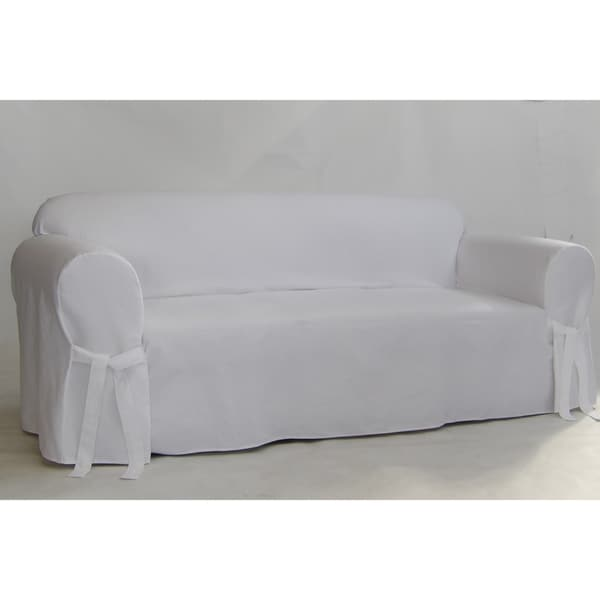 White Twill One Piece Sofa Slipcover Free Shipping Today