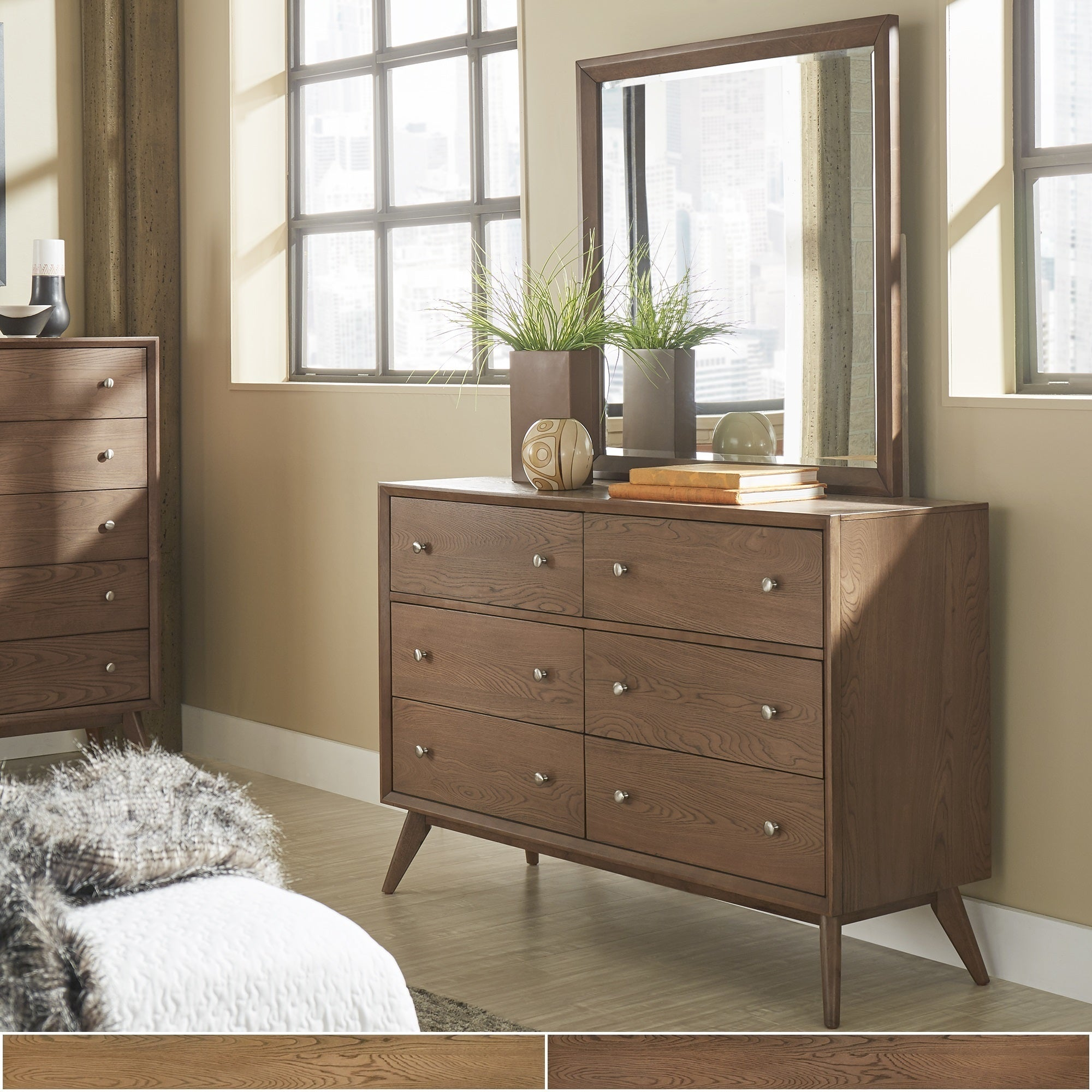 Image of: Shop Black Friday Deals On Sylvia Mid Century Wood Dresser And Mirror By Inspire Q Modern Overstock 17797422