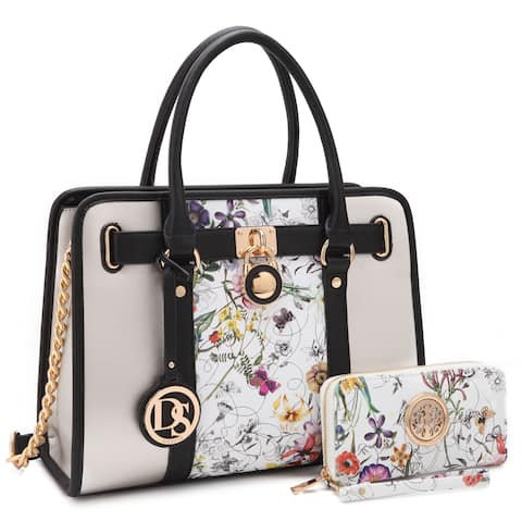 Dasein Floral Satchel with Chain Strap and with Matching Wallet