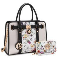 Dasein Large Floral Satchel with Chain Strap and with Matching Wallet