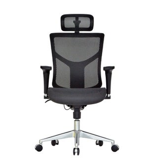 GM Seating Dreem II Mesh Series Black Mesh Executive Hi-swivel Chair With Headrest and Chrome Base