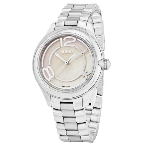 Ebel Women's 1216103 'Onde' Mother of Pearl Dial Stainless Steel Swiss Quartz Watch - silver