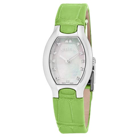Ebel Women's 1216206 'Beluga Tonneau' Mother of Pearl Diamond Dial Green Leather Strap Swiss Quartz Watch
