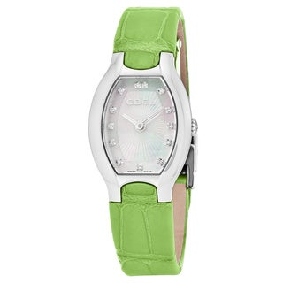 Ebel Women's 1216206 'Beluga Tonneau' Mother of Pearl Diamond Dial Green Leather Strap Swiss Quartz Watch