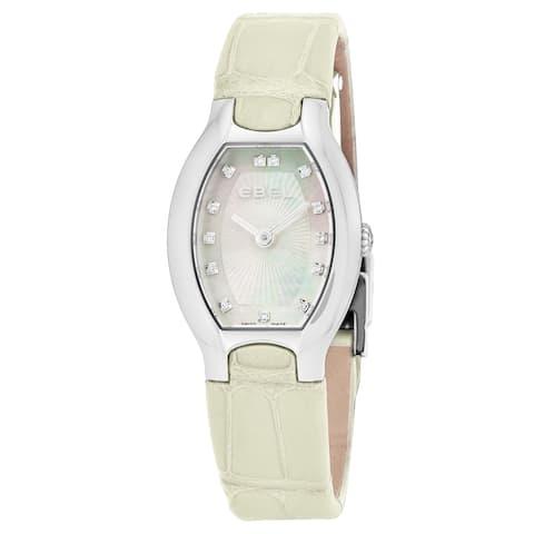 Ebel Women's 1216207 Beluga Tonneau' Mother of Pearl Diamond Dial Off-White Leather Strap Swiss Quartz Watch