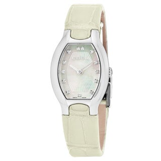 Ebel Women's 1216207 Beluga Tonneau' Mother of Pearl Diamond Dial Off-White Leather Strap Swiss Quartz Watch