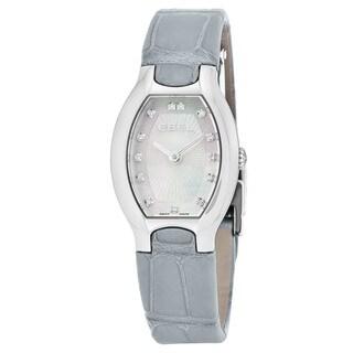 Ebel Women's 1216209 'Beluga Tonneau' Mother of Pearl Diamond Dial Grey Leather Strap Swiss Quartz Watch