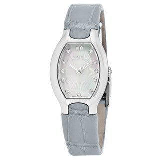 Ebel Women's 1216209 'Beluga Tonneau' Mother of Pearl Diamond Dial Grey Leather Strap Swiss Quartz Watch