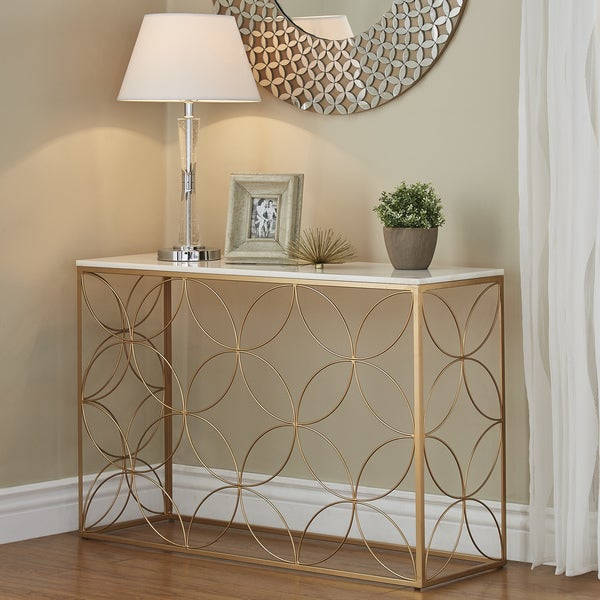 Shop Axel Gold Entryway Table With Marble Top By Inspire Q
