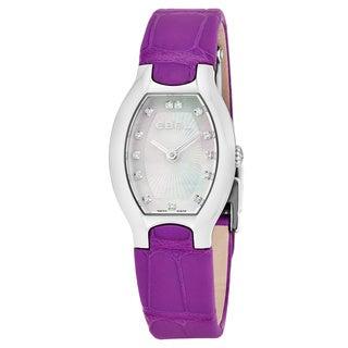 Ebel Women's 1216245 'Beluga Tonneau' Mother of Pearl Diamond Dial Purple Leather Strap Swiss Quartz Watch