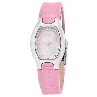 Ebel Women's 1216246 'Beluga Tonneau' Pink Mother of Pearl Diamond Dial Pink Leather Strap Swiss Quartz Watch