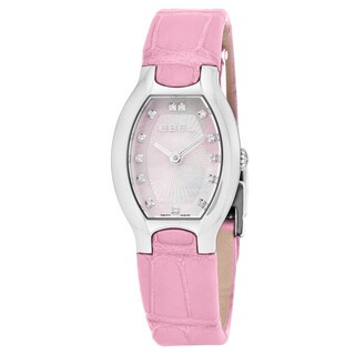 Ebel Women's 1216246 'Beluga Tonneau' Pink Mother of Pearl Diamond Dial Pink Leather Strap Swiss Quartz Watch