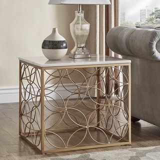 Axel Gold End Table with Marble Top by iNSPIRE Q Bold