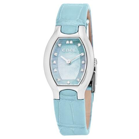 Ebel Women's 1216248 'Beluga Tonneau' Blue Mother of Pearl Diamond Dial Light Blue Leather Strap Swiss Quartz Watch