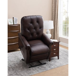 Salem Brown Tufted Premium Top Grain Leather Power Lift Recliner Chair