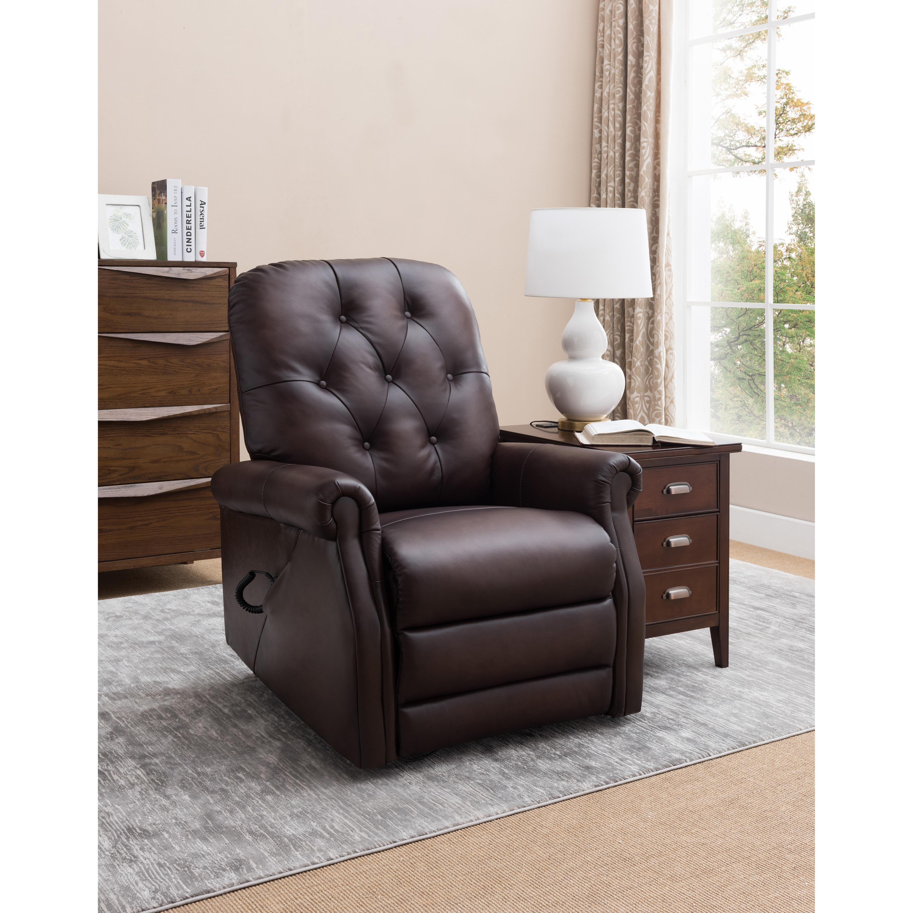 Strange Salem Brown Tufted Premium Top Grain Leather Power Lift Recliner Chair Caraccident5 Cool Chair Designs And Ideas Caraccident5Info