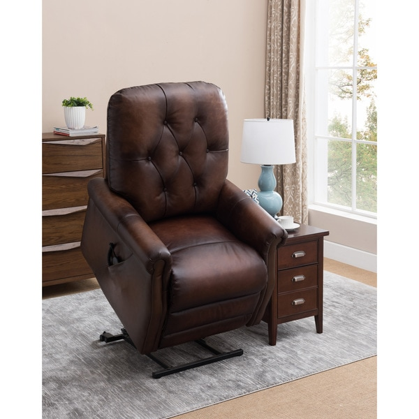 Winston Brown Tufted Premium Top Grain Leather Lift Recliner Chair