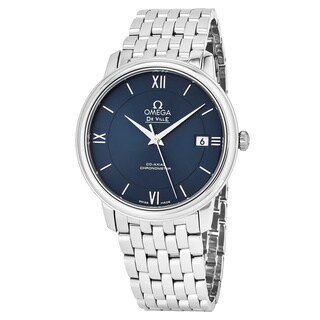 Omega Men's 424.10.37.20.03.00 'Deville Prestige' Blue Dial Stainless Steel Co-Axial Swiss Automatic Watch|https://ak1.ostkcdn.com/images/products/17797542/P23992665.jpg?_ostk_perf_=percv&impolicy=medium