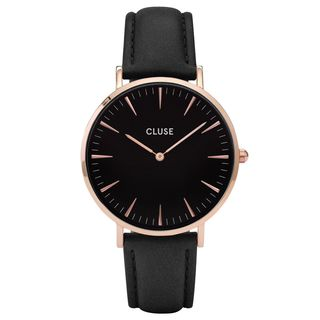 Cluse LA BOHÈME Women's CL18001 Black and Rose Gold Leather Watch