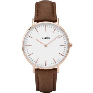 Cluse LA BOHÈME Women's CL18010 Brown Leather Strap White Dial Rose Gold Watch