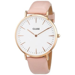Cluse LA BOHÈME Women's CL18014 Pink Leather Strap White Dial Rose Gold Watch