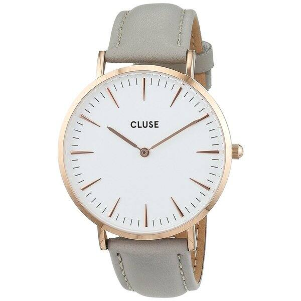 2fb06993b Cluse LA BOHÈME Women's CL18015 Grey Leather Strap White Dial Rose Gold  Watch