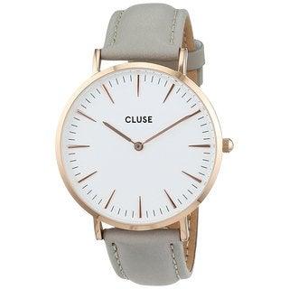 Cluse LA BOHÈME Women's CL18015 Grey Leather Strap White Dial Rose Gold Watch