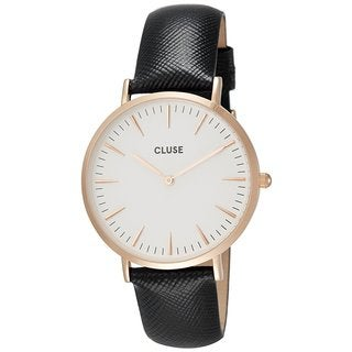 Cluse LA BOHÈME Women's CL18029 Textured Navy Leather Strap White Dial Rose Gold Accents Watch
