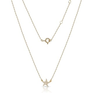 Gold over Sterling Silver 18-Inch Cubic Zirconia Starfish Attached Necklace