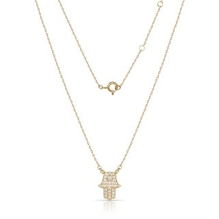 Sterling Silver 18-Inch Attached Cubic Zirconia Hand of God Hamsa Necklace