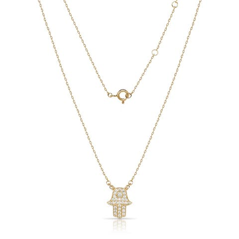 Curata Sterling Silver 18-Inch Attached Cubic Zirconia Hand of God Hamsa Necklace