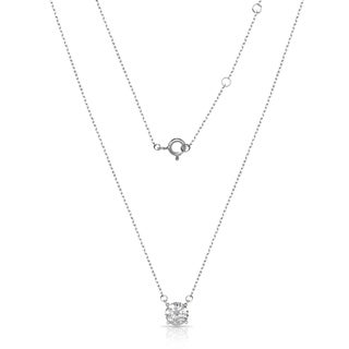 Sterling Silver 18-Inch Attached 7mm Cubic Zirconia Solitaire Necklace
