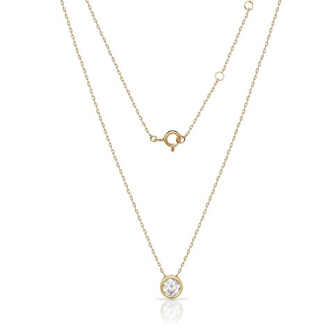 Sterling Silver 18-Inch Bezel-set 7mm Round Cubic Zirconia Solitaire Pendant Necklace
