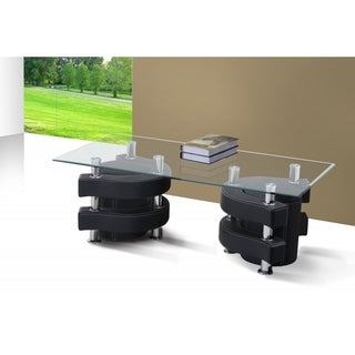 Best Quality Furniture Rectangular Glass Top Coffee Table with Nesting Stools