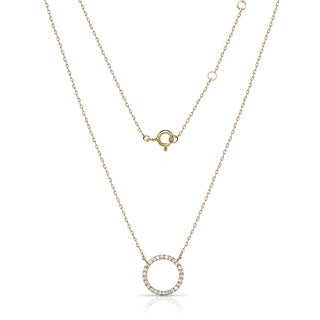 Sterling Silver 18-Inch Attached Cubic Zirconia Open Circle Necklace