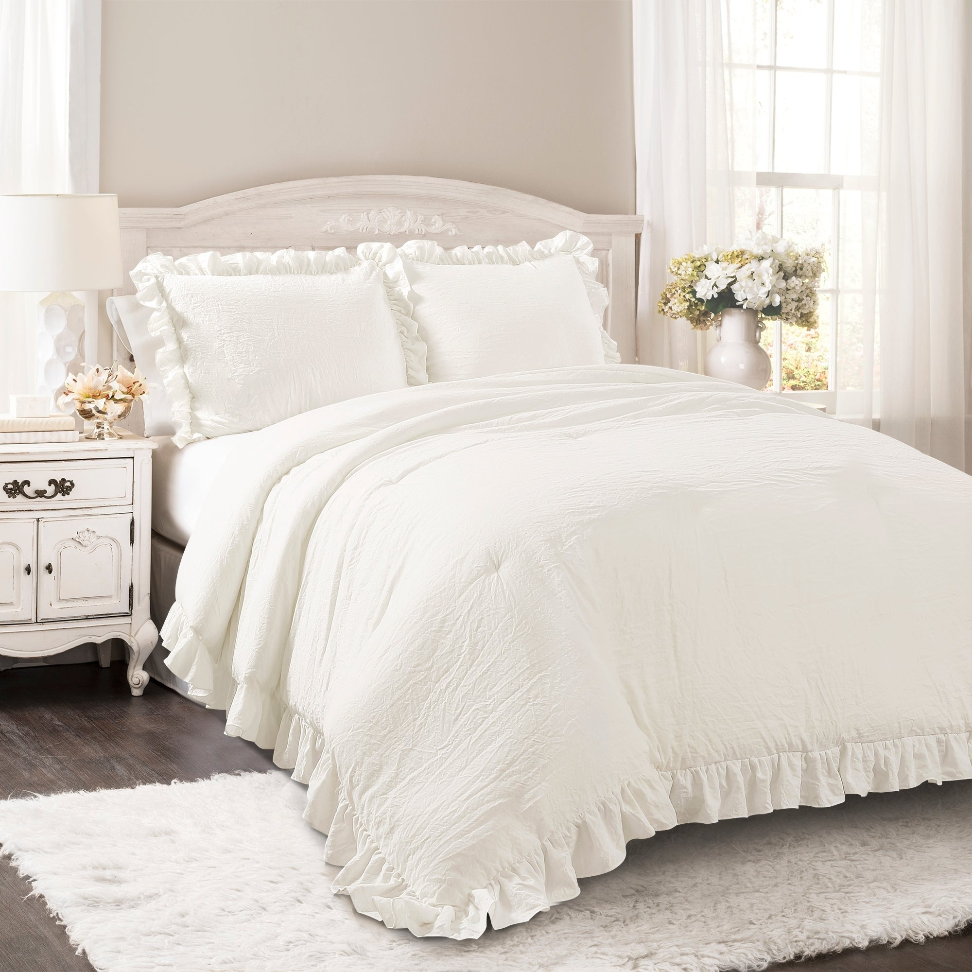 bedding grey s white king rowley cynthia gray comforter dark ruched ruffle