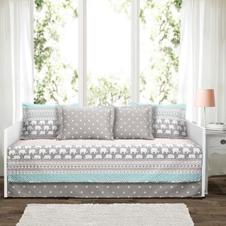 Lush Decor Elephant Stripe 6 Piece Daybed Cover Set - Turquoise
