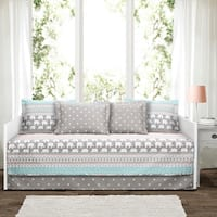 The Curated Nomad La Boheme Turquoise Elephant Stripe 6-piece Daybed Cover Set