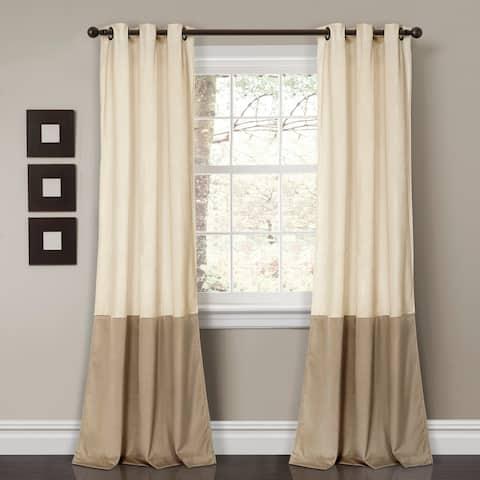 "Porch & Den Lapeyrous Velvet Color Block Room Darkening Window Curtain Set - 38""w x 84""l"