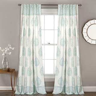Lush  Decor Teardrop Leaf Room Darkening Window Curtain Panel Pair