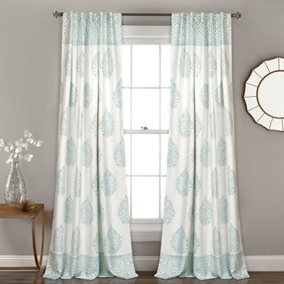 "Lush Decor Teardrop Leaf Room Darkening Window Curtain Panel Pair - 52"" W X 84"" L"