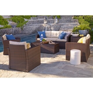 Rio-6 Piece 7 Seat Dark Brown All Weather Wicker Conversation set